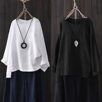 Women Long Sleeve Split Casual Shirt Tops Cotton Ethnic Loose Plain Blouse Plus