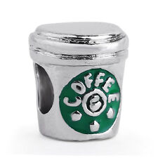 1Pcs  Green Coffee Cup Silver Charm bead For Bracelet&Necklace#638