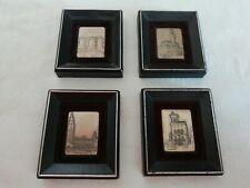 4 quadretti UNOAERRE in argento Napoli Firenze San Marino London 6 x 6 cm RARI