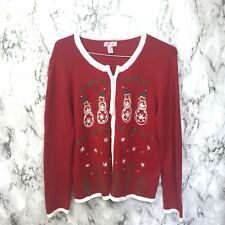 Vintage 80s Women s Ugly Christmas Sweater Holiday Cardigan Beaded Snowman L 2fc8f6fb4