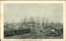 Heron Lake MN RR Train & Depot c1910 Postcard
