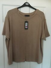 MARKS & SPENCER WOMENS BEIGE SHORT SLEEVE JUMPER TOP, Size XL, Bnwt