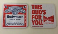 Budweiser King Of Beers Lot Of 10 Square Coasters Double Sided. A
