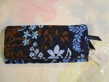 VERA BRADLEY Trifold Wallet Sleek Design JAVA FLORAL Blue Brown