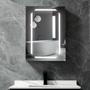 Bathroom LED Illuminated Mirror Cabinet with Shaver Socket Touch Sensor Demister
