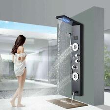 Brushed Black LED Shower Panel Tower Rain Waterfall Massage System Jets Sprayer
