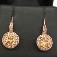 3 Ct Yellow Round Citrine Diamond Halo Hook Earring Wedding Jewelry