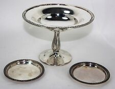 Poole Silver Co Georgian Silver Fruit Plate on Stand & Pair of Sheffield Plates