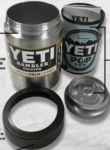 "Yeti Rambler Colster ""Koozie"" Can and Bottle Holder Stainless - No Sweat!"
