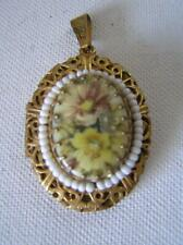 Vintage Miriam Haskell Signed hand painted Porcelain Gold Pendant double Locket