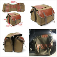 Motorcycle Bikes Saddle Bag Two Large Canvas Pocket+Double-Strapped Flap Covers