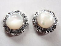 Mother of Pearl Round Accented 925 Sterling Silver Stud Earrings