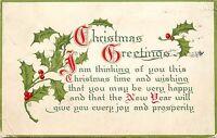 Christmas Greetings pm C 1909 New Year Poem Postcard
