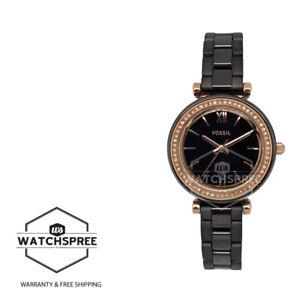 Fossil Ladies' Carlie Mini Three-Hand Black Ceramic Band Watch CE1105