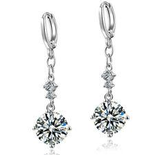 Stunning-New-18k-White-Gold-Plated-Women Round Cut CZ Drop-Dangle-Earrings