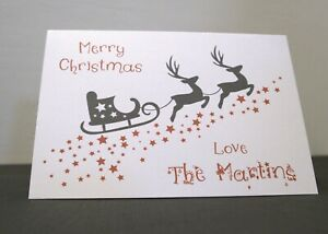 A6 Personalised Sleigh Reindeers Stars Silhouette Christmas Greeting Card