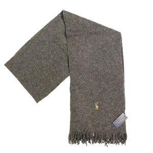 POLO RALPH LAUREN Mens Pony Merino Wool Knit Fringe Scarf Gray (MSRP $65)