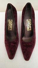 SALVATORE FERRAGAMO Burgundy Color Velour Heels Women's Shoes, Size 8,5B