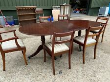 Reproduction Solid Dark Wooden Oval Extending Dining Table 4 Chairs & 2 Carvers