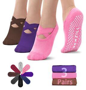 ⭐️Newzill 3 Pairs Yoga Socks Women Non-slip Straps Pilates Workouts Dance Home⭐