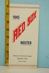 1945 Boston Red Sox Baseball Spring Player Roster #RS114 Ted Williams War RARE!!
