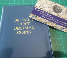 UK BUNC Set of Britain's First Decimal Coins in Blue Plastic Cover 10P - 1/2P