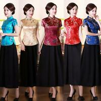 Hot Womens Chinese Qipao Traditional Silk Dragon Phoenix Tops Shirts Costume 4XL