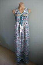 Unbranded NWD Paisley Floral Tie V neck Blue Boho Hippie Gypsy Maxi Dress S/M?