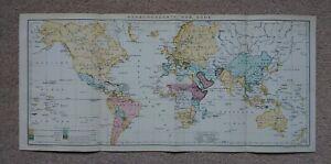 Antique Map Rare Print World Geography c 1900's Brockhaus 14th Edition Deutsche