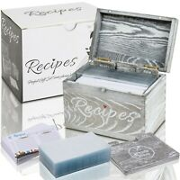Wood Recipe Box with Wood Dividers 4x6 100 Double Sided Recipe Cards