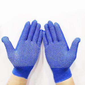 12 Pair Labor Insurance Gloves Nylon Beads Point Non-Slip Gardening Plastic