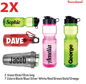 2x Personalised Name Custom Stickers For School Water Bottle Bike Sports Gym