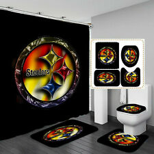 Pittsburgh Steelers Bathroom 4PCS Rug Bath Mat Shower Curtain Toilet Lid Cover