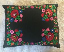 "Beautiful Vintage Hungarian Kalocsa Hand Embroidered Wool Pillow Cover 16"" x 20"""