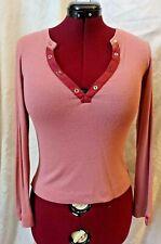 Miss Sixty Women's Top Purple Knit Wool, Long Sleeve, Deep Sexy V-Neck SzM Italy
