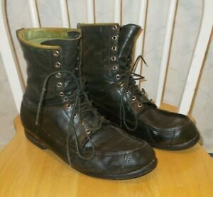 Vintage Browning Men's Leather Hunting Boots.Green 13 D  #13087 Good  Moc Toe