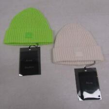 Acne Studios Kid's Us 4-6 Rib Knit Beanies Neon Green/Coconut Cream Lot Of 2