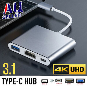 Type C to USB-C HDMI USB 3.0 Adapter Converter Cable 3 in 1 Hub For MacBook Pro