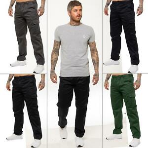 Kruze  Mens Designer Chinos Cargo Combat Trousers Elasticated Pants All Waists
