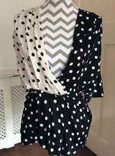 Zara Woman Studio Ivory and Black Spotted Contrast V-Neck Top, Size M UK 10 New