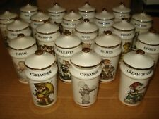 Vintage 1987 Mj Hummel 20 Spice Jar Set 24K Gold Trim Made in Japan