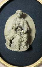 LARGE rare antique hand carved figural lady dog lava stone brooch sculpture