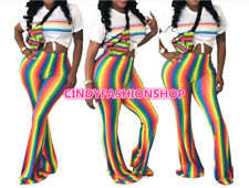 Women Rainbow Stripes Pants Casual Skinny High Waist Sexy Wide Leg Pants #PT12