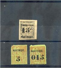 MARTINIQUE Sc 1,8,25(YT 1,6,22)*F-VF HR, 1886-91 THREE HIGH VALUES, FAULTY, $345