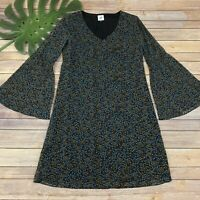 Cabi Poise Dress Size XS Navy Blue Bell Sleeve Shift Knee Length Floral
