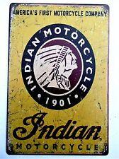 Indian Motorcycle (Design 12) Métal Tin Signe Vintage Cafe Pub Bar Garage Vélo