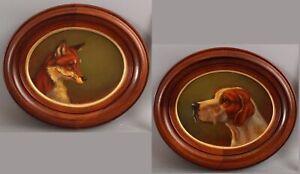 Pair Original ANTHONY BARHAM Fox Hunting, Fox & Hound Dog Portrait Oil Paintings