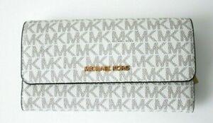 New Michael Kors Jet Set Travel Large Trifold wallet PVC Vanilla