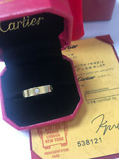 Cartier 18k Yellow Gold 3 Diamond Love Band Ring Size 7