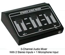Stereo Audio Mini Mixer Microphone Mixer - 2 Stereo RCA L/R Inputs + 1 Mic Input
